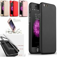Hybrid 360° Ultra Thin Clear Case+Tempered Glass Cover For Iphone 6Plus - black