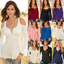 Oversized Womens V Neck Tunic T shirt Blouse Long Sleeve Shirt Casual Tank Top