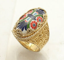 Technibond Oval Cabochon Ceramic Filigree Ring 14K Yellow Gold Clad Silver HSN