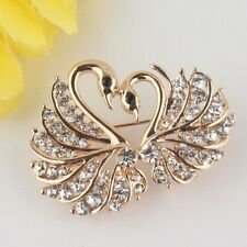 Yellow Gold Plated Love Swan Clear/Champagne/Pink Austrian Crystal Brooch Pin Je