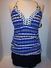 NWT Athena Size 10D Cup Tankini Top+ Size 10 Skirted Brief Swimsuit Blk Wht Blue