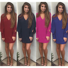 4 Colors Sexy Womens V-Neck Long Sleeve Cocktail Party Mini Chiffon Shirt Dress