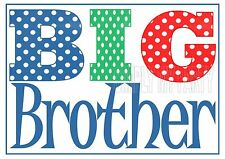 IRON ON TRANSFER or STICKER - BIG BROTHER - POLKA DOT T-SHIRT TRANSFER RED BLUE