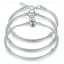 DIY 5 Style Silver Plated LOVE Snake Chain Bracelet Bangle Lobster Clasp #G12