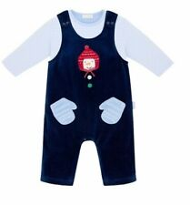 NWT LeTop Striped Shirt & Velour Overalls 2 ps. set baby boy set 6M, 12M 1205221