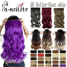 Women Clip in Hair Extensions 1PC Five Clips Curly Straight Purple Hairpiece O96