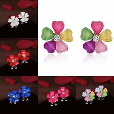 Silver Plated Ear Earrings Crystal Rhinestone Heart Flower Stud Women Ladies New