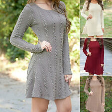 Women Long Sleeve Bodycon Dress Knitted Sweater Jumper Sexy Cocktail Tunic Dress