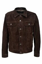 TRUCKER Men's Brown SUEDE 1280 Classic Real Cowhide Western Real Leather Jacket