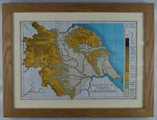 Framed Antique contour map of Yorkshire by Fred D. King, 1888. Solid Oak Frame.