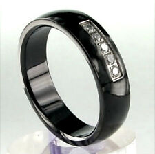 Black Plated TITANIUM RING with Five CZ Stones, size - 9, 10, 11, 12, 13
