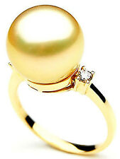 $7,999 Pacific Pearls® AAA 14mm Australian Golden  South Sea Pearl Diamond Ring
