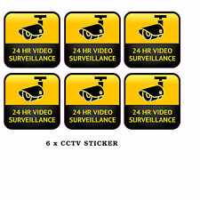 CCTV Camera Warning Stickers Surveillance Vinyl Decal Video Security Sign x6
