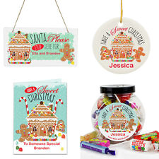 Personalised Gingerbread House Christmas Gifts 1st Xmas Bauble Santa Stop Here