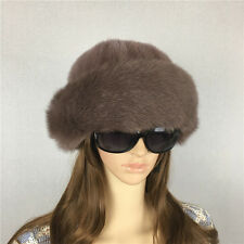 New Women's Real Genuine Mink Fur Winter Warm Hat Cap with Fox Fur Trim