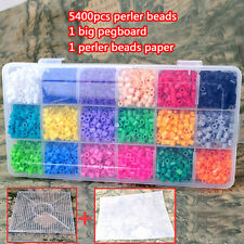 5400pcs 5mm DIY hama mix beads 18 colors+pegboards+perler beads paper for kids
