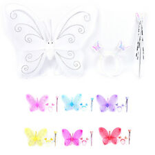 3X Set Girls Fairy Costume Butterfly Party Wings Wand Princess Headband BeautyST