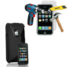 Case Cover TPU Silicone Gel S-Line for Apple iPhone 3G/3GS+ Film Toughened Glass