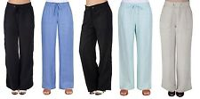 Ladies, Womens Wide Leg Linen Trousers Lesuire Pant Flax, Navy, Black Beachwear