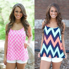 1pcs Women Sleeveless Stripe Wave Loose Cami Tops Fashion Casual New Backless