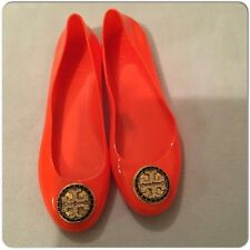 Tory Burch Orange Reva Jelly Shoes Ballet Flat Size 8