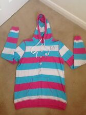 FABULOUS KATIE PRICE EQUESTRIAN PINK BLUE & WHITE STRIPED HOODED TOP - SIZE 12