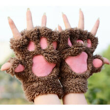 Women Girl Bear's Paw Cat Paw Glove Mitten Furry Thick Half Finger Mitts Gloves