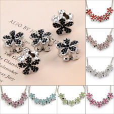Silver Plated butterfly CZ beads European charms Fit bracelet 10pcs authentic