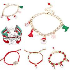 Xmas Candy Glass Beads Charming Santa Claus Deer Christmas Bracelet Decor