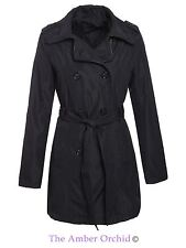 Brave Soul Womens Ladies Trench Mac Double Breasted Coat Belted Jacket