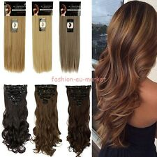 US Thick Double Weft Full Head Clip in Hair Extensions Long Straight Curly 180G