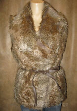 NWT Authentic Guess Faux Fur Audrine Wrap Vest Brown Sandalwood $140