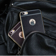 Luxury Leather Plated Frame TPU Back Cover Case Skin For iPhone/Samsung Galaxy