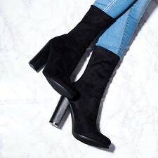 SPYLOVEBUY TABITHA Sock Fitted Block Heel Ankle Boots Shoes SZ 3-8