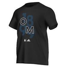 adidas Mens Gents Football Olympique de Marseille Graphic T Shirt Tee - Black