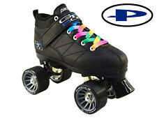 Black Pacer Mach-5 GTX500 Quad Speed Roller Skates with Rainbow Laces