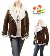 Brown Faux Lamb Suede Leather Shearling Sherpa Aviator Bomber Moto Jacket Coat