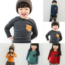 Chils Boys Kids Long Sleeve T-Shirt Top Tee Solid Designs Cotton Tops 2-7Y