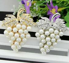 Silver/Gold Pearl & Grape Brooch Rhinestone Crystal Diamante Wedding Broach Pin