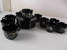 ARCOROC FRANCE SET OF 10 BLACK DEMITASSE CUPS & SAUCERS