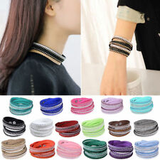 Fashion Leather Crystal Rhinestone Bracelet Bangle Wrap Wristband Cuff Punk hot