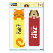 Set of 2 Glossy Laminated Cat and Dog Bookmarks - Names Female Pa-Pe