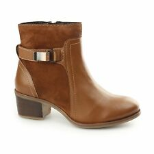 Hush Puppies FONDLY NELLIE Ladies Leather Suede Ankle Low Heel Boots Cognac Tan