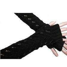 Fashion Womens Gloves Arm Warmer Long Fingerless Knitted Crochet Wool Winter