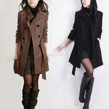 Fashion Women Winter Double-breasted Long Slim Coat Jacket Overcoat Outwear