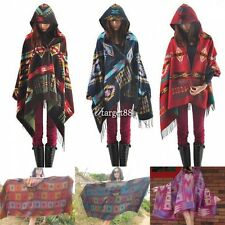Women Bohemian Hoodie Cape Poncho Shawl Scarf Tribal Fringe Hooded UTAR