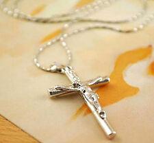 1 Pc Cross Necklace Jewelry Christ Jesus Crucifix Pendant Silver Chain HOT