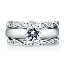 BERRICLE Sterling Silver Round CZ Solitaire Engagement Ring Set 1.48 Carat