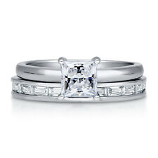 BERRICLE Sterling Silver Princess CZ Solitaire Engagement Ring Set 1.495 Carat