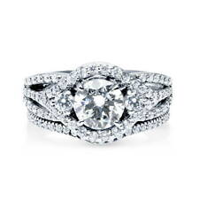 BERRICLE Sterling Silver Round Cut CZ 3-Stone Stackable Ring Set